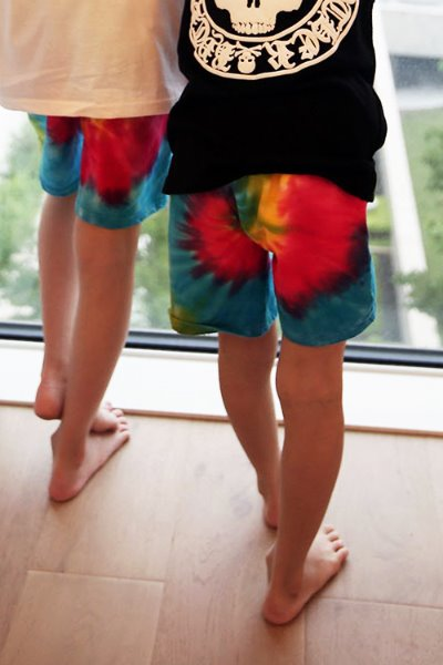 Kids Colorful Water Tie-dye Elastic Waistband Shorts