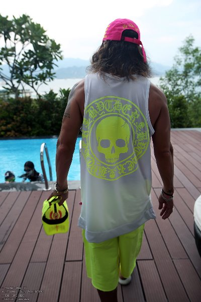 ByTheR Skull Logo Neon Mesh Tank Top
