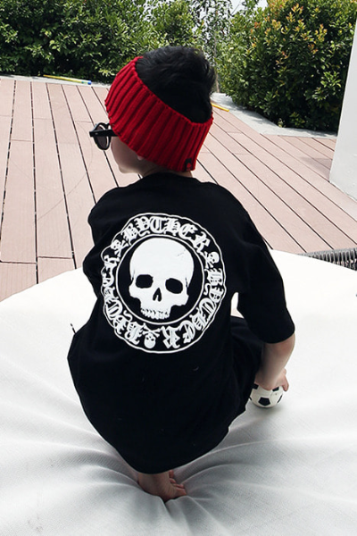 ByTheR Kids Skull Logo Embossed Black T-shirt