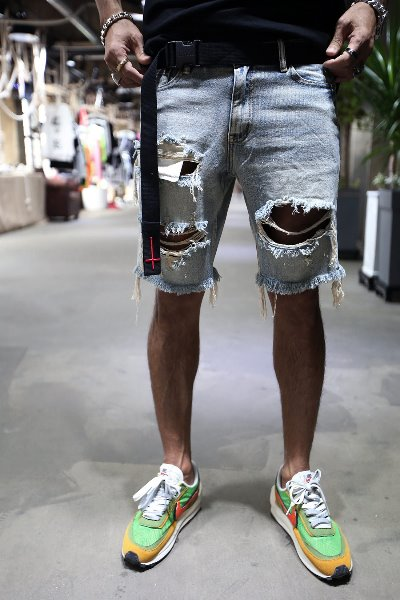 Heavy Destroyed Denim Shorts