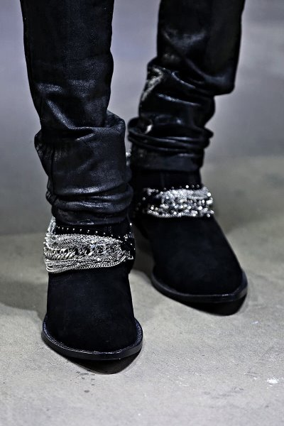 Multi-Chain Suede Ankle Boots