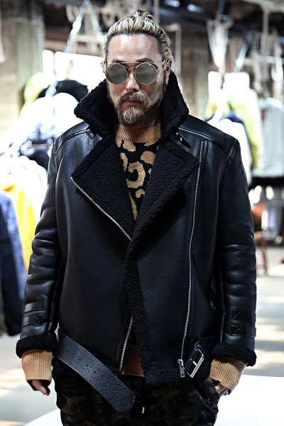 Leather Belted Rider Shearling Jacket