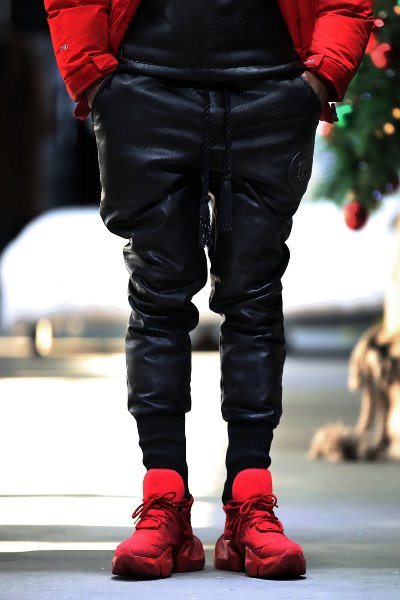 ByTheR Brushed Bonding Stitch Leather Jogger Black Pants