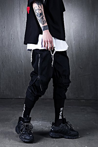 Side zip Shorts Over Layered Joggers