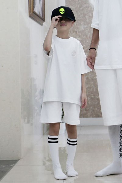 ByTheR Kids Skull Embroidery Short Sleeve White