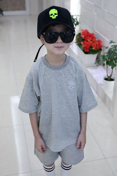 ByTheR Kids Skull Embroidery Short Sleeve Tee Gray