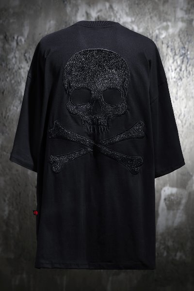ByTheR Calf Skin Skull Patch Relaxed Fit Short Sleeve Tee Black