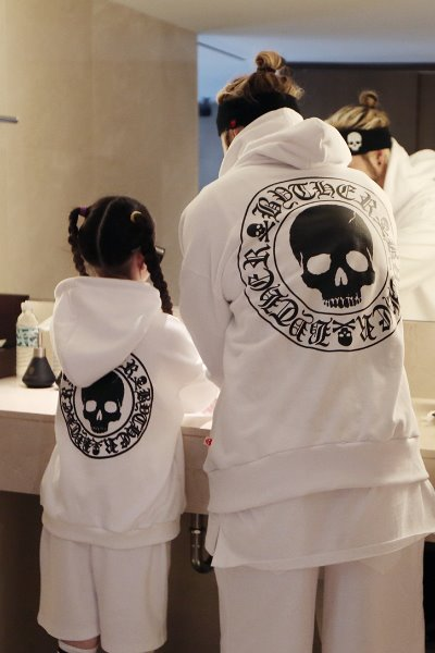 ByTheR Kids Skull Logo Embossed Hooded White