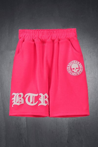 ByTheR Kids Embossed Logo Printing Shorts Pink