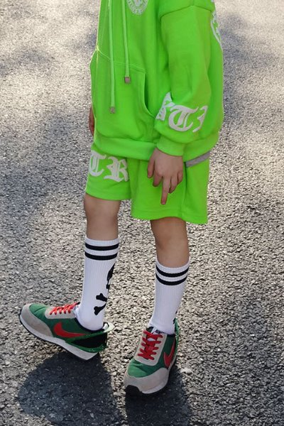 ByTheR Kids Embossing Logo Printing Shorts Lime