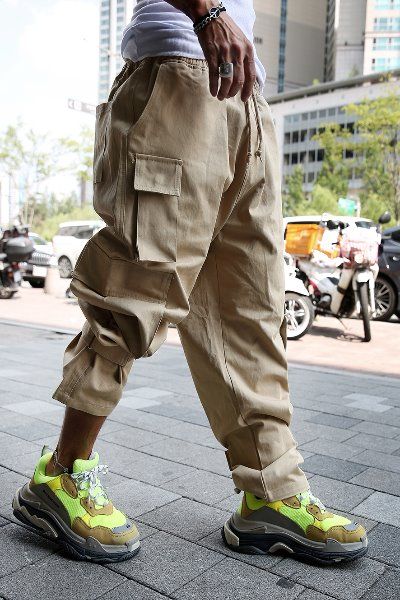 Hook And Loop Wide Cargo Cotton Pants