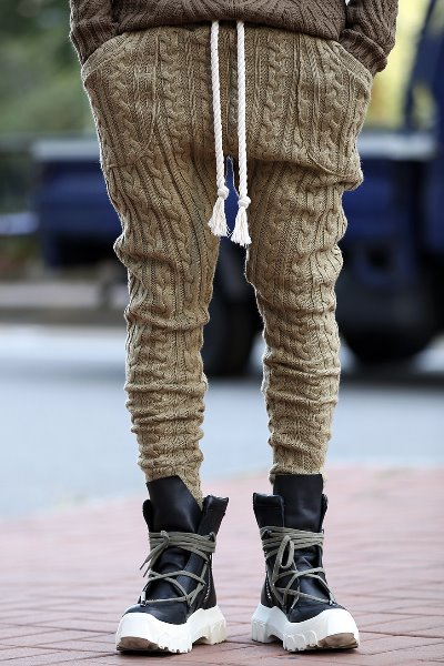 ByTheR Twisted Knit Rope Belted Jogger Pants