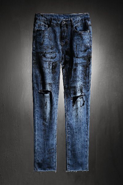 ByTheR Custom Rough Painting Cut Knife Denim Jeans