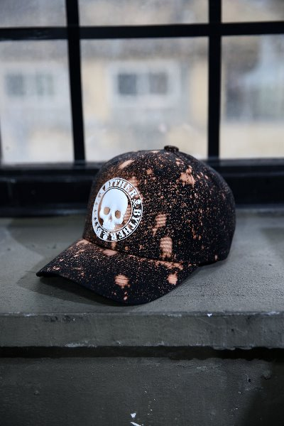 ByTheR Custom Dot Bleach Skull Logo Patch Cotton Ball Cap White