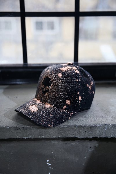 ByTheR Custom Dot Bleach Skull Embroidery Ball Cap Black
