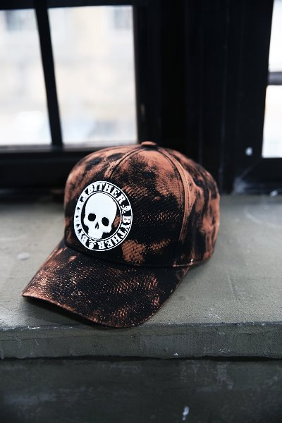 ByTheR Custom Rough Bleach Skull Logo Patch Cotton Ball Cap White