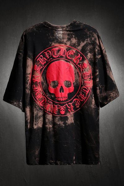 ByTheR Custom Rough Bleach Skull Logo Embossing Loose Fit T-Shirt Red