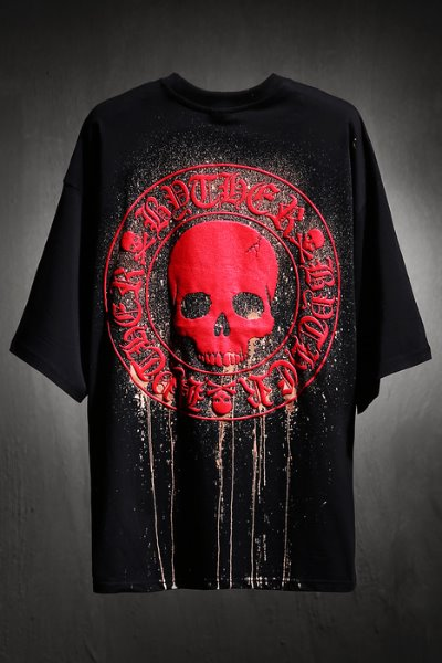 ByTheR Custom Dripping Bleach Skull Logo Embossing Loose Fit T-Shirt Red