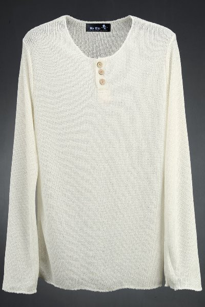 ByTheR See-Through Button Neck Knit T-shirts
