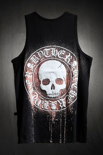 ByTheR Custom Dripping Bleach Skull Logo Embossed Tank Top Black