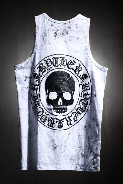 ByTheR Custom Rough Painting Skull Logo Embossed Tank Top White