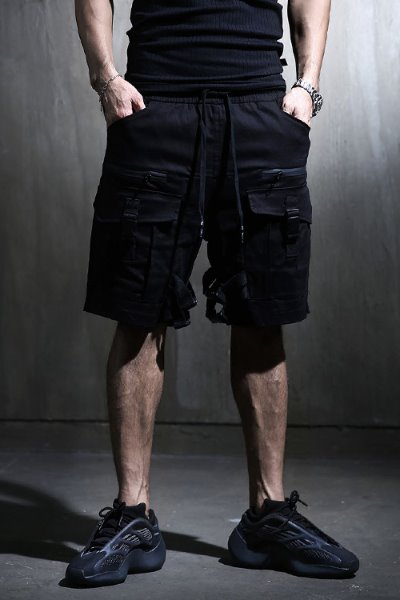 Strap buckle multi-pocket cargo shorts