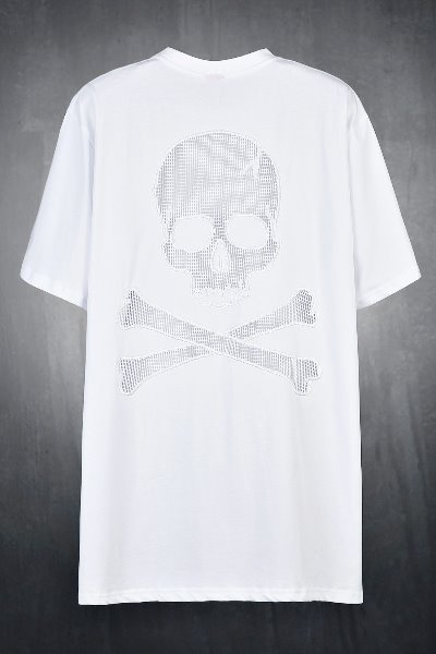ByTheR Back Mesh Skull White T-shirt