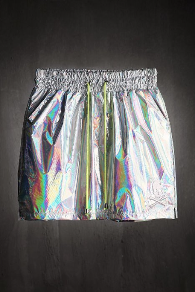 ByTheR Hologram Silver Skull Beach Shorts