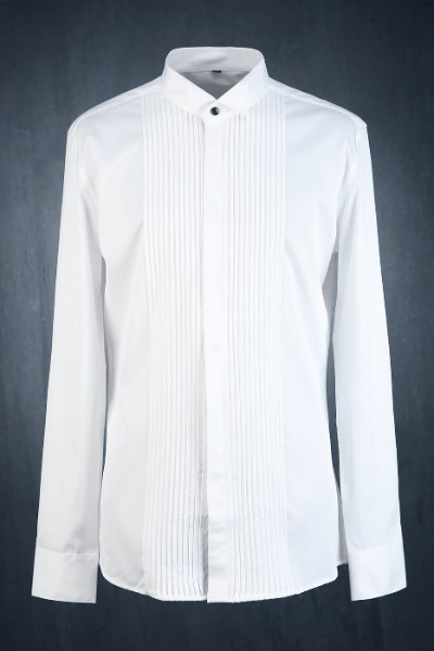 Front Pintuck Wing Collar Dress Shirt
