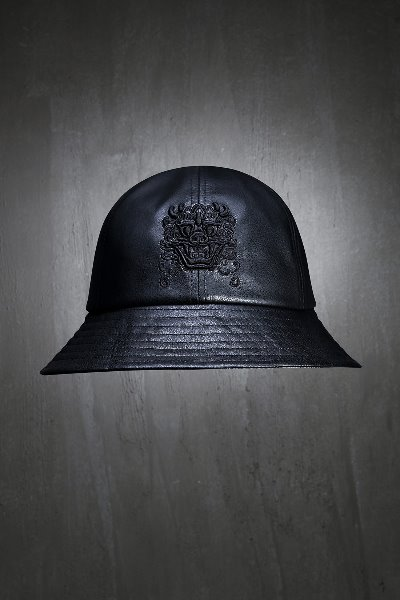 ByTheR Dokebi-Embroidered Leather Bucket hat