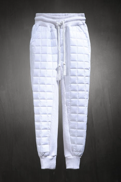 ByTheR Qualting Padded Jogger Pants White