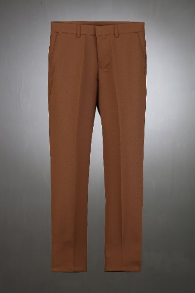 Brown Color Slim Straight Slacks