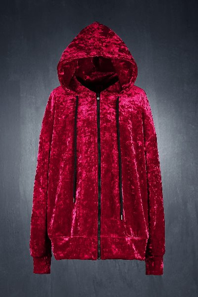 ByTheR Wavy Velvet  Zip-up Hoodie