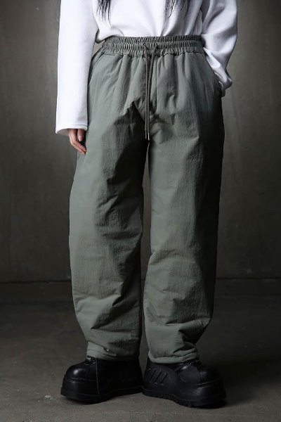 Tapered snap-button padded trousers