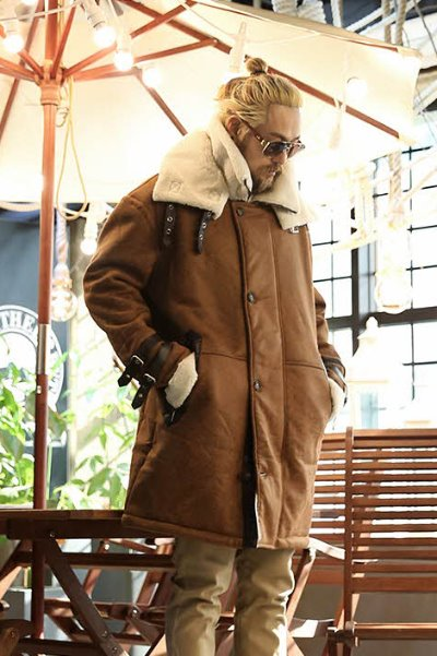 Double high neck long Shearling Jacket