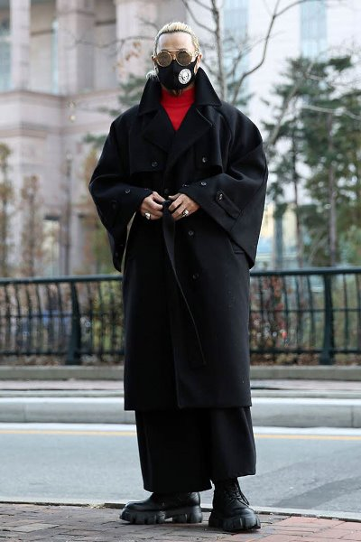 Sleeve Button Slit Wool Robe Coat