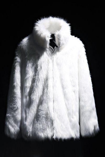 Mukha loose fit fur jacket white