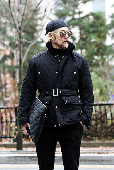 Quilted padded high-neck hunting jacket