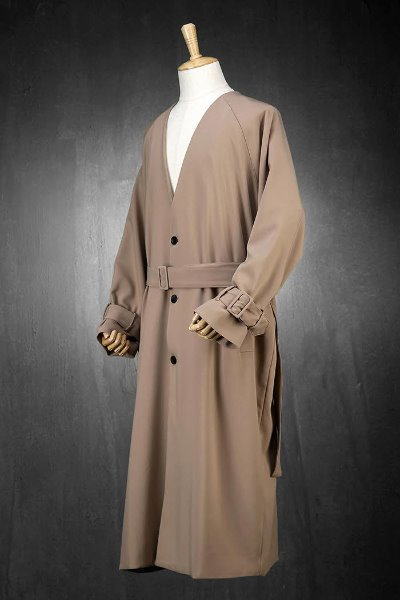 Collarless Robe Coat