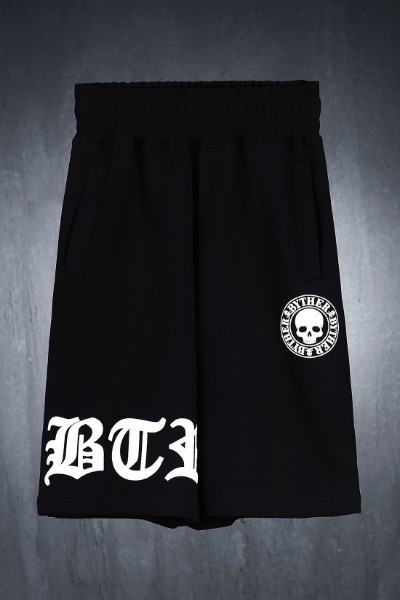 ByTheR Embossed Logo Print Loose Fit Shorts Black