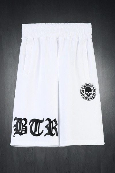ByTheR Embossed Logo Print Loose Fit Shorts White