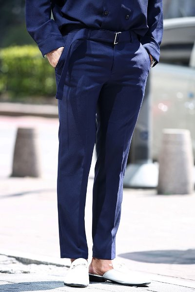Square Belt Straight Fit Slacks