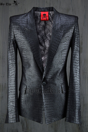 ByTheR Solid Python Skin Leather Pattern Soft Black Suit