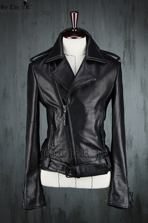 Leather Black Belt Rider Jacket