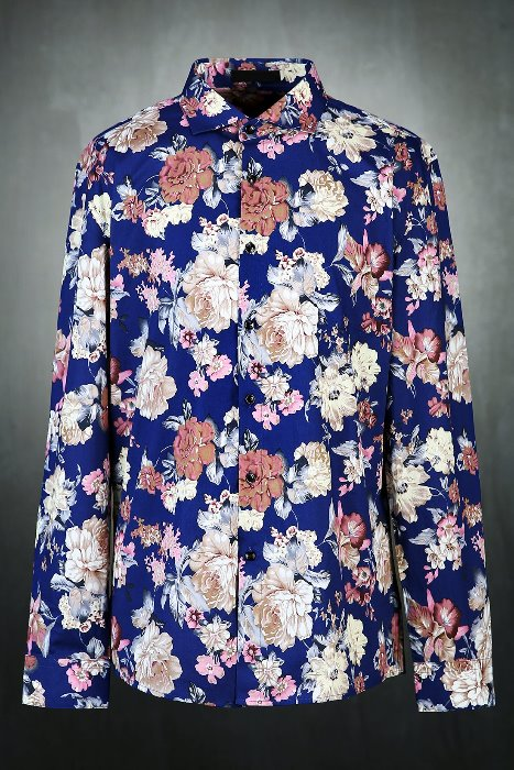 Big floral pattern wide collar shirt