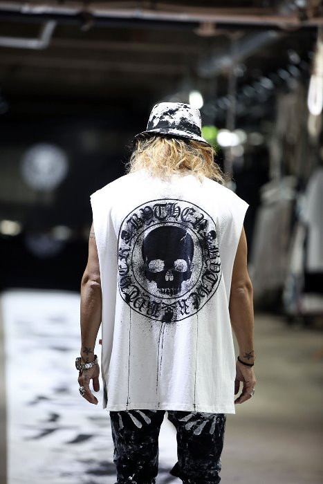 ByTheR Custom Dripping Painting Skull Logo Cutting Box Sleeveless White