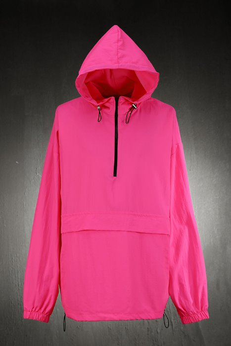 Loose Fit Neon Hooded Anorak T-shirt