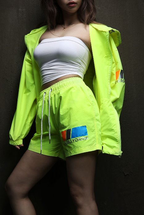 Neon Color Reflective Lettering Short Shorts