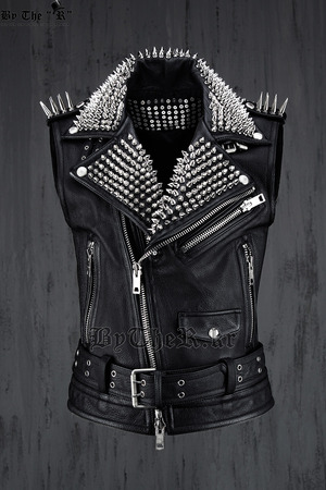 ByTheR Black Custom Lux Leather Made Slim Studded Rider Vest