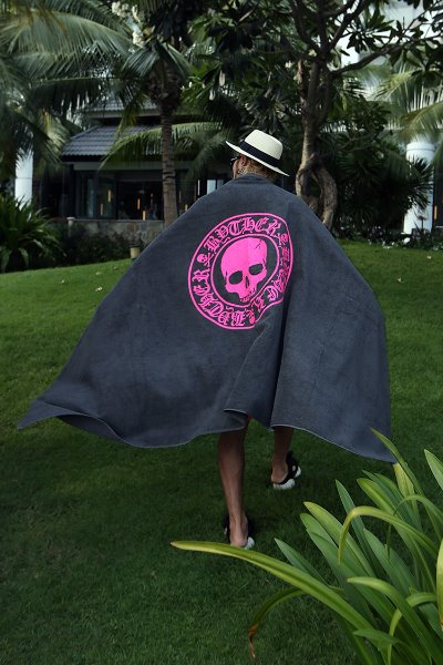 ByTheR Skull Logo Oversized Gray Beach Towel